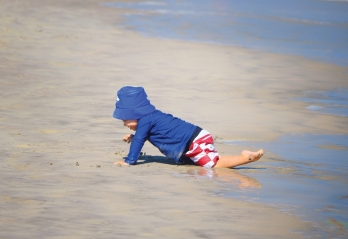 Tot crawling on the Ocean City, Nj beach